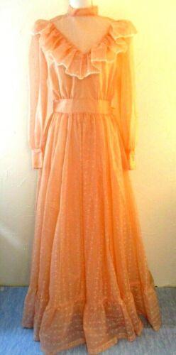 Vintage Dress Prairie Victorian Flocked Swiss Dot
