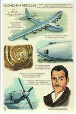 Hughes H-4 Hercules, Spruce Goose, Military, Plane, Howard -- Technical Postcard