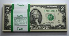 $2 2013 DALLAS Dollar Bill GEM BU UNC,CONSECUTIVE NUMBERS PAPER MONEY PACK OF100