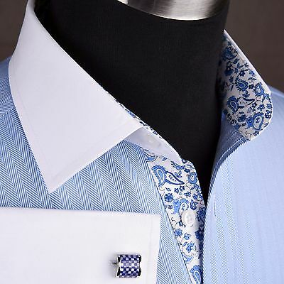 Luxury Blue Herringbone Egyptian Cotton Formal Business Dress Shirt Sexy Paisley