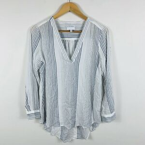 Witchery-Womens-Shirt-Top-Size-6-White-Grey-Jersey-Long-Sleeve-Gorgeous-Boho-Top