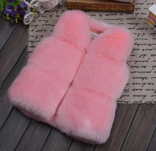 UK Toddler Kids Faux Fur Vest Coat Girls Baby Boy Gilet Winter Waist warmer vest