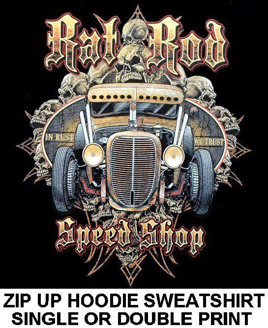 HOT STREET RAT ROD SPEED SHOP OLD SCHOOL RUST V8 SKULL ZIP HOODIE SWEATSHIRT 224