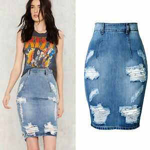 UK Womens Celeb Ripped Frayed Stretch Bodycon High Waist Jean ...
