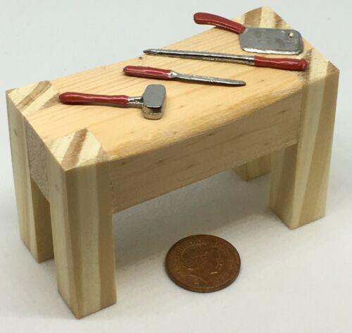 Escala 1:12 de madera sin pintar grandes carniceros mesa y herramientas tumdee Casa De Muñecas