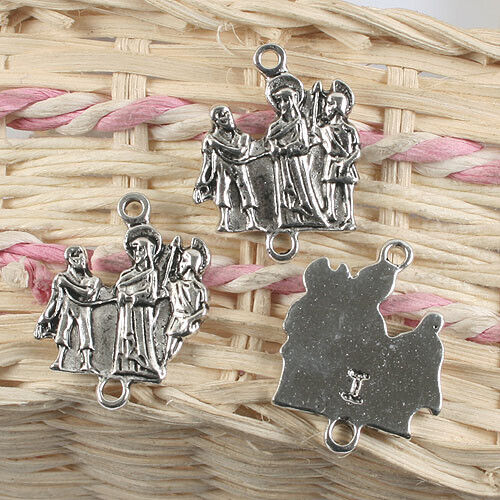 of the Via Crucis charm G905 6pcs antiqued silver color a Station of the Cross