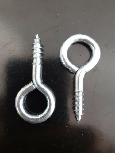 2 x 55mm Screw In Eyes Eyelets Hooks Heavy Duty Strong Zinc Plated Eye Hook