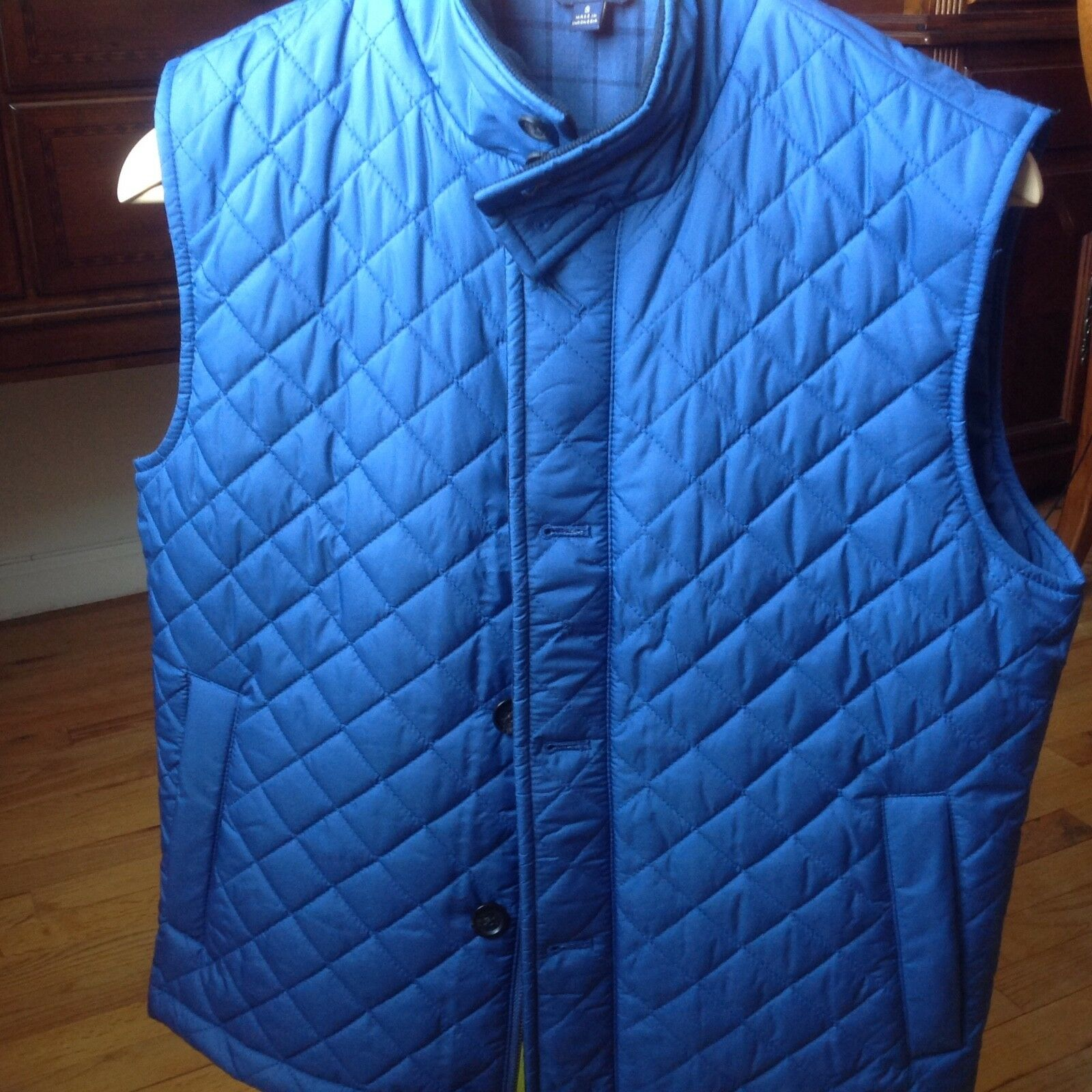 NWT Brooks Bredhers Men's bluee Lightweight Diamond Quilted Vest SIZE S