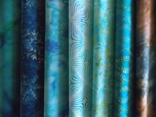 "Teal Batiks Fabric 30 Piece Charm Pack 5/"" Fabric Squares Premium Cotton"