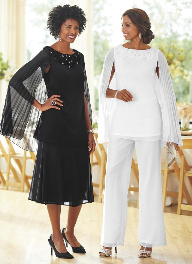 8 Ashro Black Formal Dress Mother Of The Bride Groom Calinda Pant & Skirt Suit