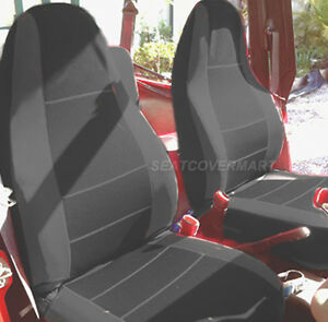 Jeep Wrangler Seat Covers Waterproof >> Jeep Wrangler 1987-1996 YJ Neoprene custom full set car seat cover black YJ127 | eBay