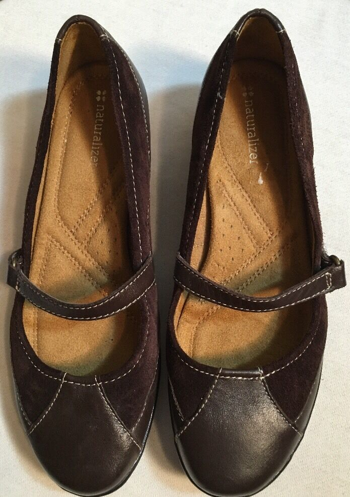 Naturalizer Brown Leather Shoes Mary Jane Flats Shoes Leather Size 7.5M 504396
