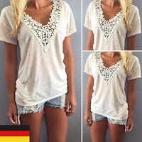 De Damen Weiß Spitze Mode Sommer Party Klar Tops T-shirt Oberteil Blusen Shirt