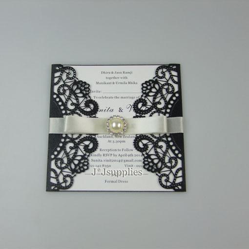 Personalized Laser cut Gatsby wedding invitation+Envelope+inner sheet