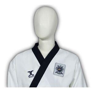 Taekwond-Anzug-Poomsae-Dan-Ribbed-Herren-schwarzes-Revers-WTF-Gr-150-210