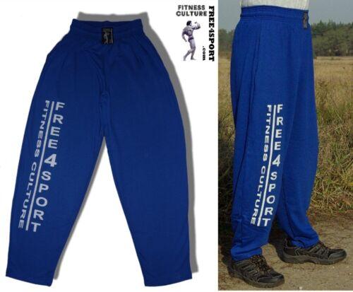 blaue Fitnesshose mit Druck Bodybuilding Sporthose Free4Sport