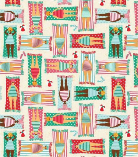 "Seaside Fabric Width 112cm//44/"" Sunbathing Beach Nautical Fabric Cotton Fabric"