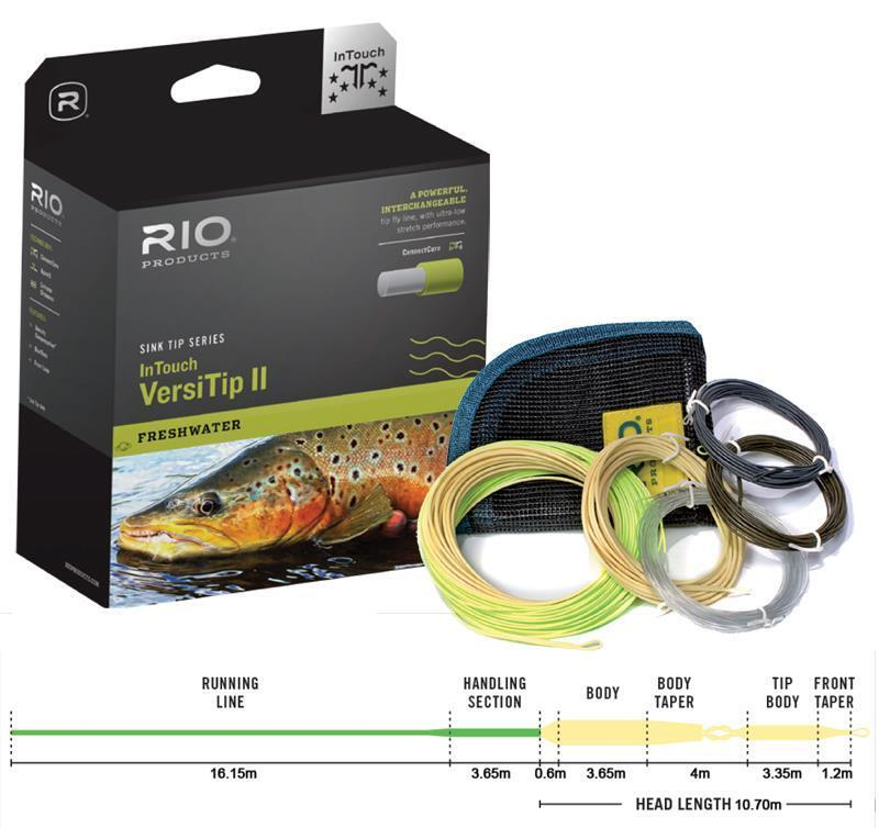 NEW RIO IN TOUCH VERSITIP II WF-7-F FLOATING FLY LINE+ 4 INTERCHANGABLE TIPS