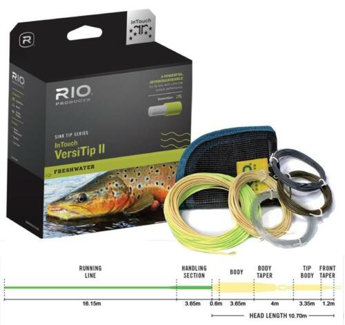 4 INTERCHANGABLE TIPS NEW RIO IN TOUCH VERSITIP II WF-8-F FLOATING FLY LINE