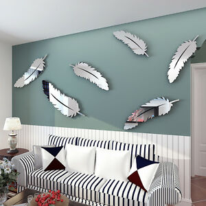 Details about 8Pcs Silver Feather 3D Mirror Wall Art Stickers Decal Home  Bedroom Decor.