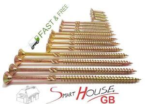 Countersunk-TORX-ANTI-SPLIT-Wood-Screws-Chipboard-Zinc-Yellow-FREE-TORX-BIT