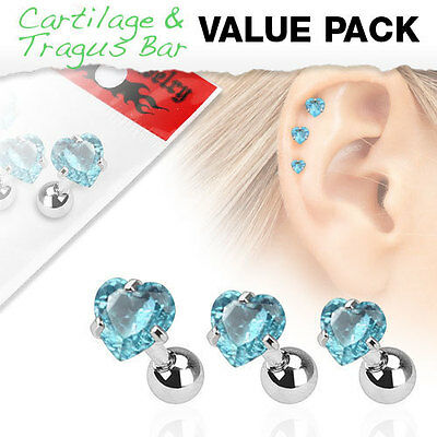 316L Surgical Steel Tragus/Cartilage Stud With Aqua Gem Heart Top 3 Piece Pack