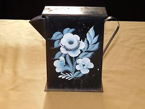 "VINTAGE 8"" HIGH METAL HAND PAINTED FLOWERS WAX CANDLE POURER PITCHER"