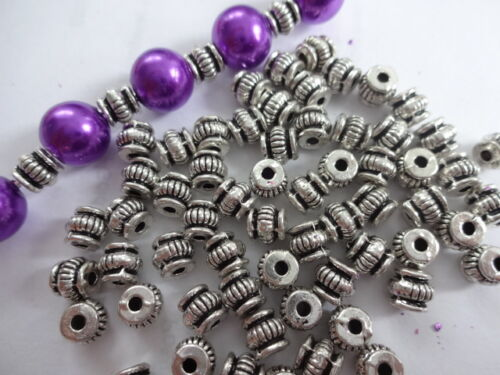 50// 100 Tibetan Corrugated Pumpkin  Lantern Spacer Beads 5mm Antique Silver