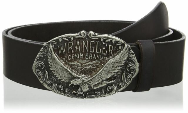 """WRANGLER """"Eagle Buckle"""" Cut to Fit Belt in Black Leather in Size XS to XXXL"""
