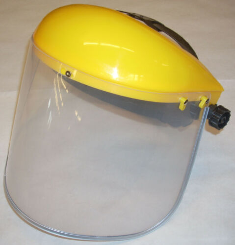 Yellow Grinding Safety Ratchet Headgear /& Clear Face Shield 9 x 15 Metal Bound