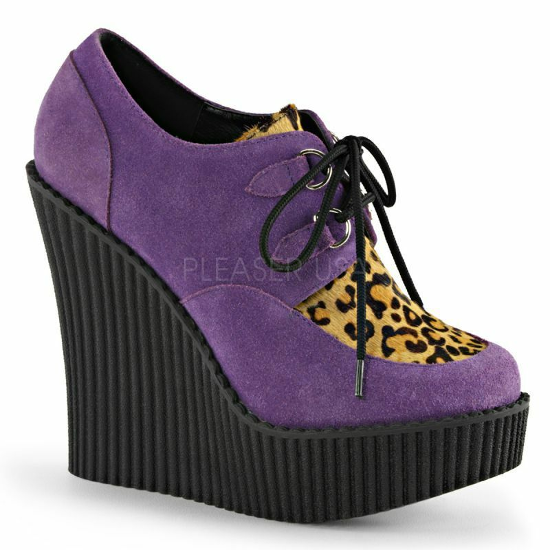 DEMONIA CRE304/PPVS-LPPY Plateau Halbschuh Wedge Lila Leolook Punk New-Chic Hip