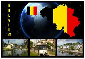 BELGICA-Mapa-RECUERDO-ORIGINAL-Iman-de-NEVERA-MONUMENTOS-Banderas-NUEVO