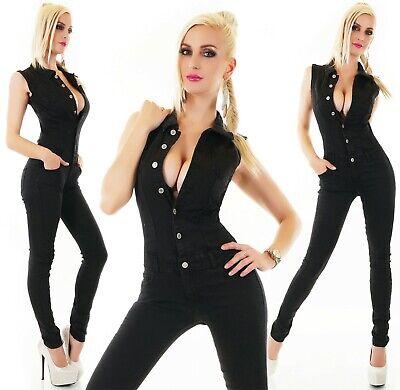 Donna Jeans Tuta Pantaloni Jumpsuit Tubo Skinny Black Slavati Denim S M L Xl-