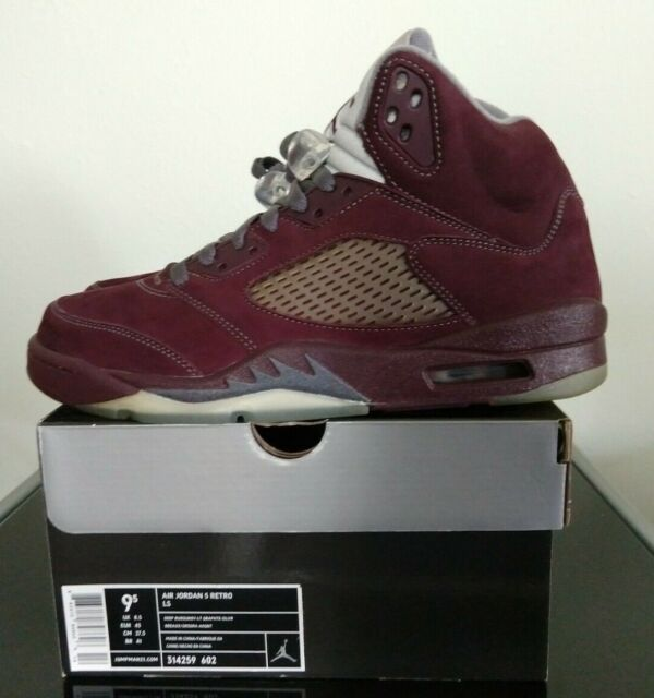 19a209d86d7299 NEW AIR JORDAN 5 RETRO LS DEEP BURGUNDY GRAPHITE SILVER 314259-602 SIZE 9.5  DS