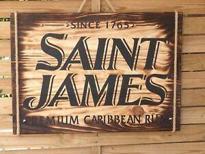 Décoration murale en bois panneau enseigne Rhum Saint James Martinique Caraïbes