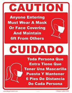 19Covid Sign Wear Mask Face Covering 6ft Social Distance Mascarilla Spanish Red