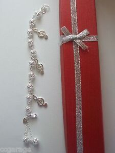 NEW CHILDRENS SILVER BRACELET ,MUSIC NOTE CHARMS,GIFT BOX age 5,6,7,8,9,10,Y<wbr/>EAR