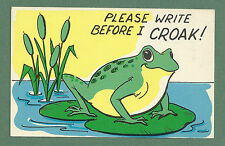 C1960'S PC FROG ON A LILY PAD - PLEASE WRITE BEFORE I CROAK!