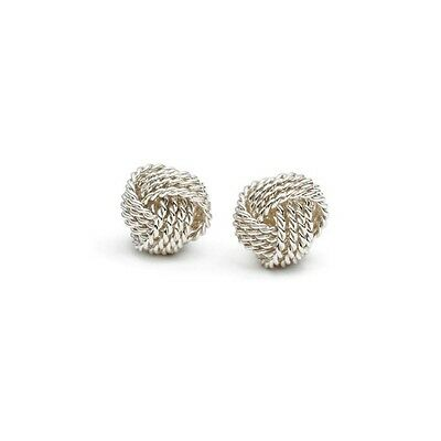 Shiny 925 Sterling Silver Plated Rope Twisted Knot Stud Earrings Gift