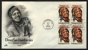 #2088 20c Douglas Fairbanks-Block De 4 , Art Craft FDC Cualquier 5=