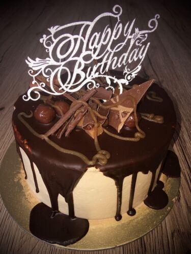 in UK Happy Birthday Cupcake Cake Silver Glitter Topper Glitter Card