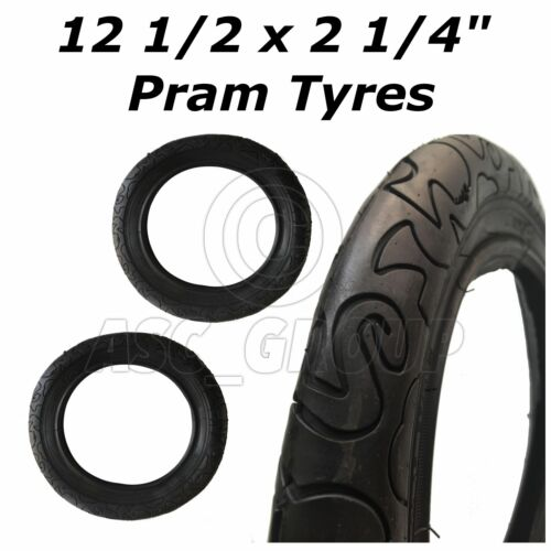 "2 x Pram Stroller Pushchair Tyres Slick 62-203 12 1//2 x 2 1//4/"" High Quality"