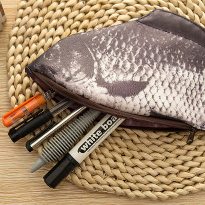 Funny Zipper Silver Carp Fish Change Purse Pencil Case Make-Up Pouch Pen Bag