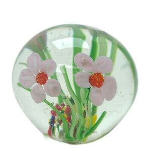 Beautiful Vintage Art Glass Paperweight Pink Floral Millefiori
