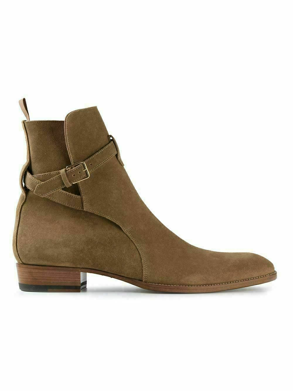 NEW-Handmade Men's Beige Suede Leather Jodhpurs Ankle High Buckle Leather Boots