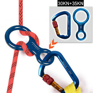 Locking-Rock-Climbing-Carabiner-D-Shape-Hook-Twist-Screwgate-Figure-8-Descender
