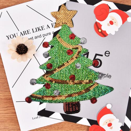 merry xmas sequins christmas tree cartoon happy diy applique iron on patch RA ZY