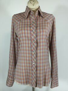 VTG-WOMENS-WESTERN-SHIRT-WRANGLER-34-36-034-SZ-CHEST-LONG-SLEEVE-PEARL-SNAP-RODEO