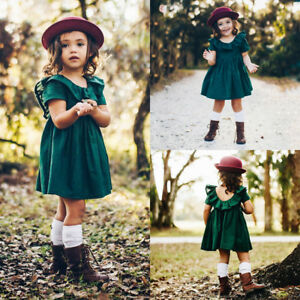 4d79f9168 UK Newborn Baby Girls Green Ruffle Tutu Tulle Princess Dress Tops ...