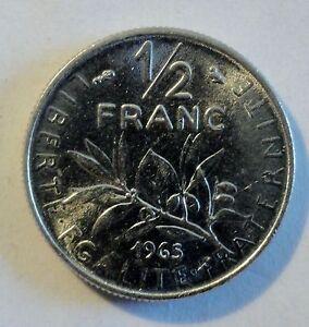 Frankreich-France-1-2-Franc-1965-SILBER-oder-Nickel-vz-st